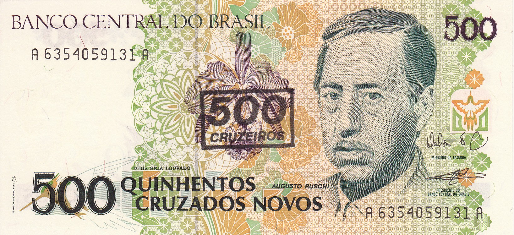 BANCO CENTRAL DO BRAZIL 1000 MIL CRUZADOS UNC Images - Frompo